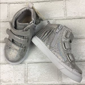 NEW Baby GAP Girls Silver Fringe High Top Sneakers